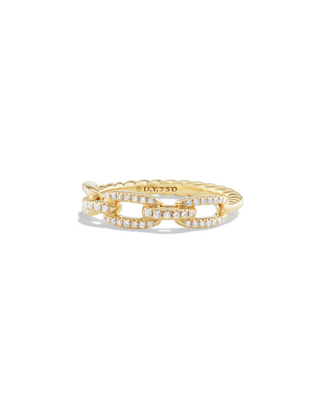 David Yurman 4.5mm Stax 18K Chain Link Ring with Diamonds, Size 7