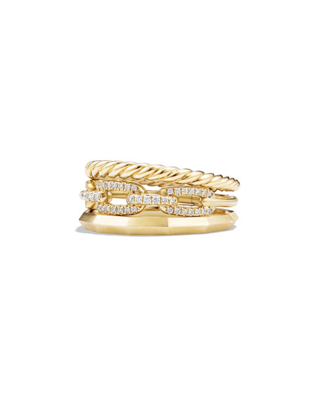 9.5mm Stax Three-Row 18K Chain Link Ring with Diamonds, Size 7