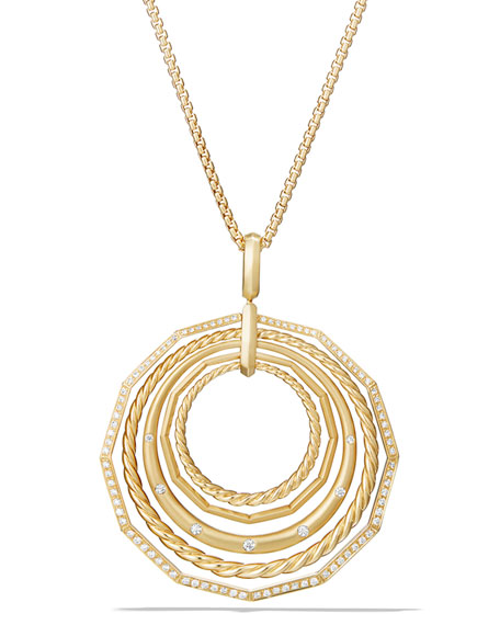 """Stax 18k Gold Pendant Necklace with Diamonds, 36"""""""