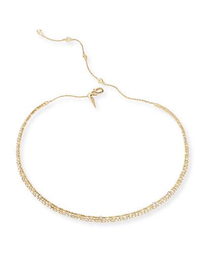 Crystal Spike Choker Necklace  Golden