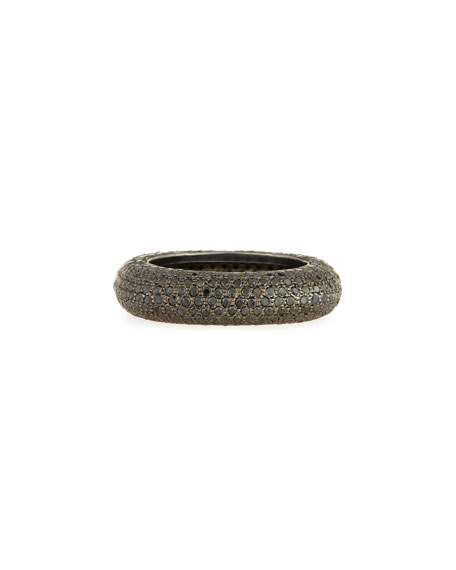 Sheryl Lowe Black Rhodium-Plated Ring with Black Diamonds, Size 7