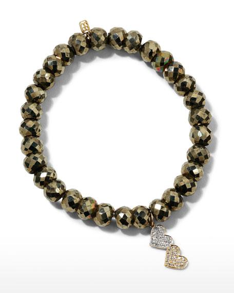 Sydney Evan 8mm Champagne Pyrite Beaded Bracelet with