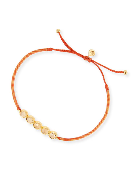 Peach Crystal Single-Strand Toggle Bracelet