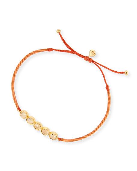 Peach Crystal Single-Strand Toggle Bracelet