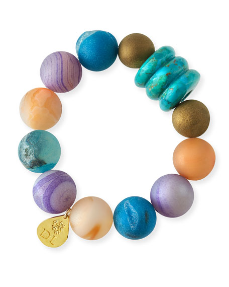 Devon Leigh Agate & Druzy Beaded Bracelet