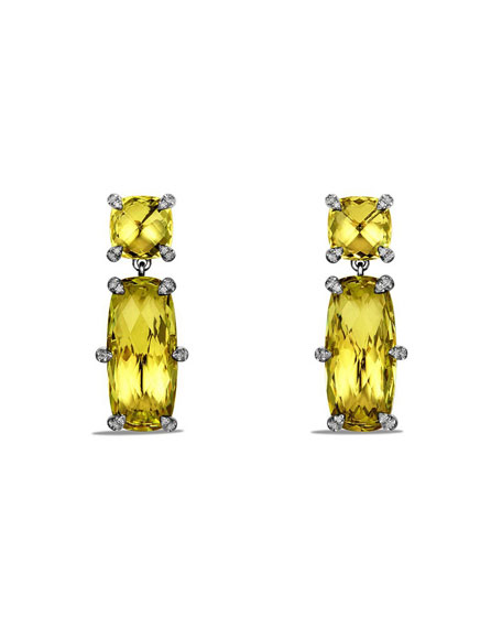 David Yurman Ch??telaine Faceted Drop Earrings with Diamonds