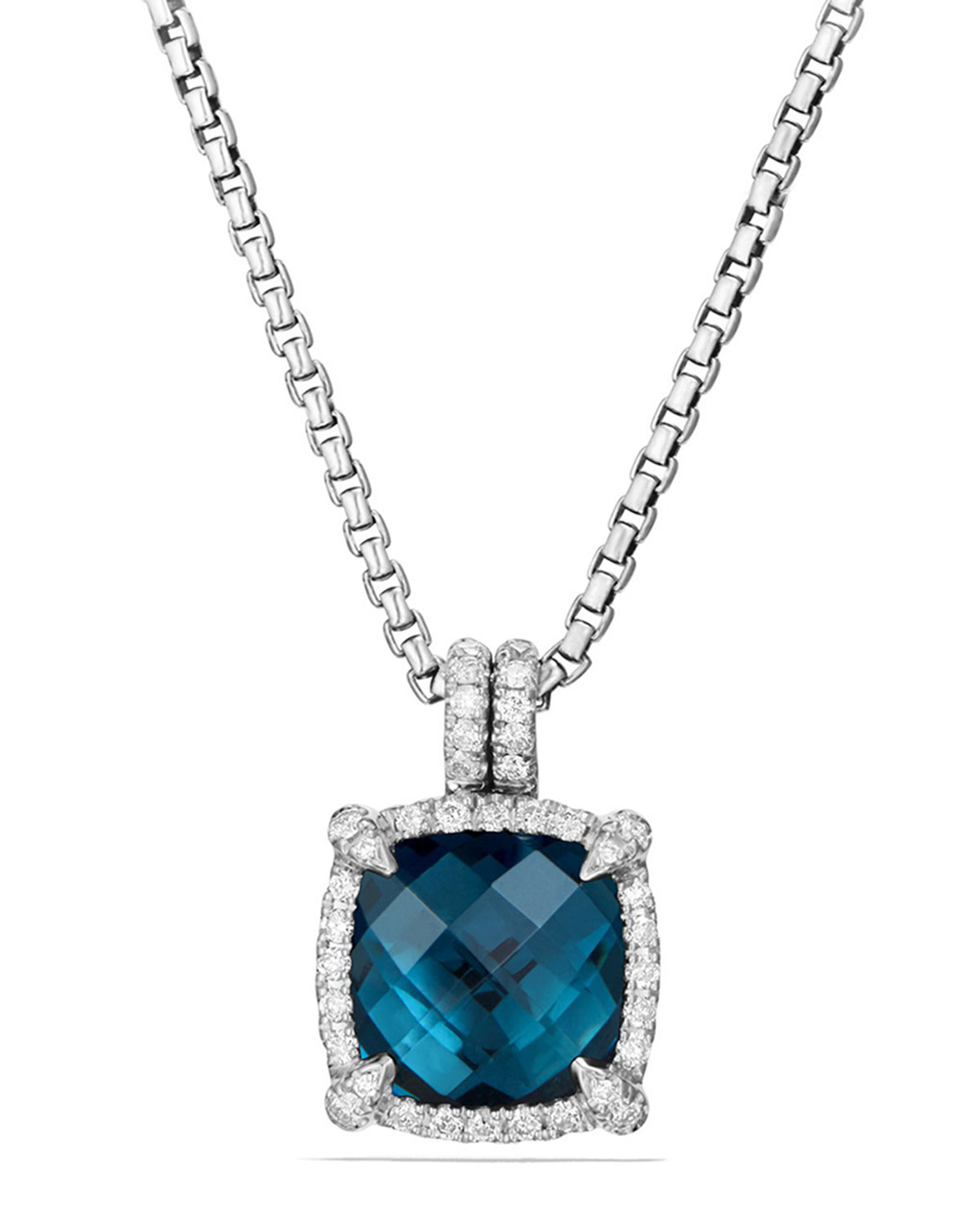 VICTOR BLUE TOPEZ SILVER NECKLACE   Blue Topaz /& Diamond Accent NEW  $100