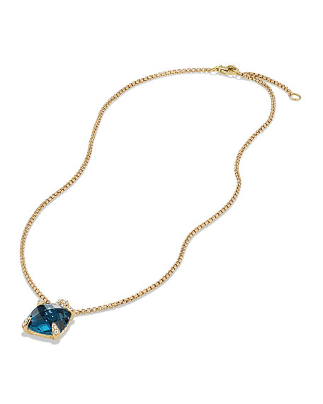 Image 2 of 4: David Yurman 18k Châtelaine® Pendant Necklace in Hampton Blue Topaz, 18""