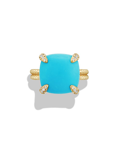 Image 4 of 5: David Yurman Châtelaine 18k Gold 14mm Turquoise Ring w/ Diamonds, Size 7