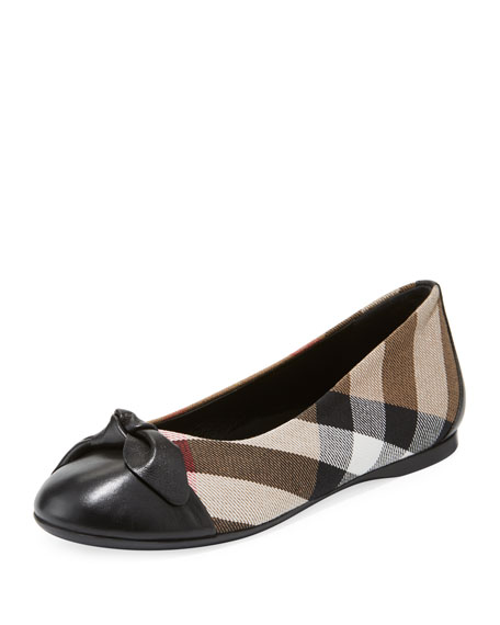 Burberry Yaxley Check Ballet Flat, Black, Toddler/Kid Sizes