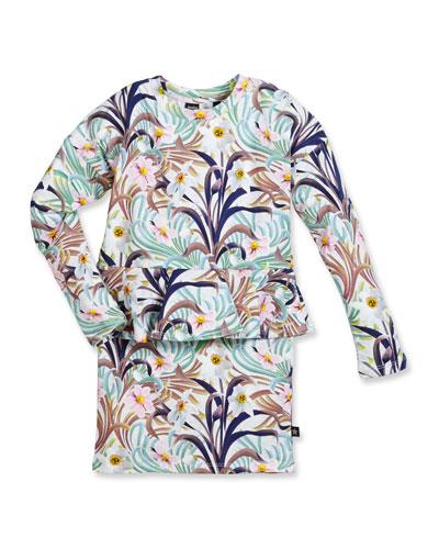 Corliss Floral Peplum Dress, White/Multicolor, Size 3-12