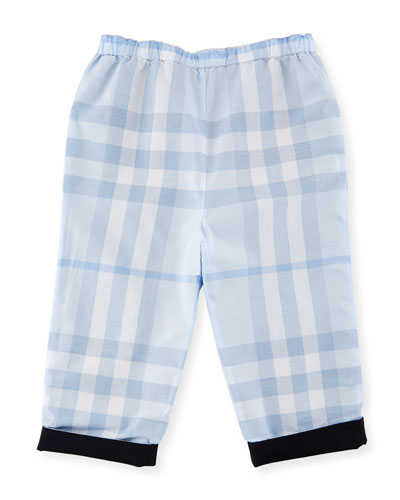 Darcy Reversible Solid-to-Check Pants, Blue, Size 3-24 Months