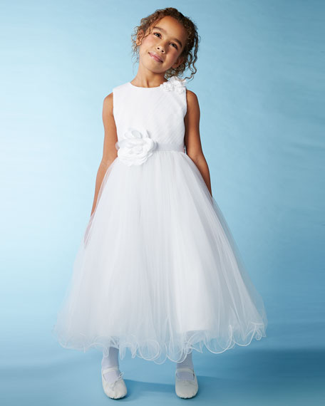 Sleeveless Satin & Tulle Special Occasion Dress, Size 2-14