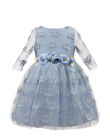 Embroidered Floral Overlay Dress w/ 3D Flower Belt, Size 3-6
