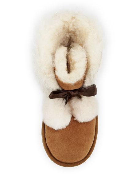 Gita Pompoms Shearling Fur Boot, Kid Sizes 13T-6Y