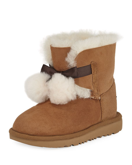 Gita Pompoms Shearling Fur Boot, Kid Sizes 13T-6Y