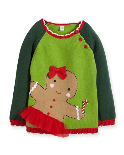 Girls' Knit Gingerman Sweater, Sizes 2T-10