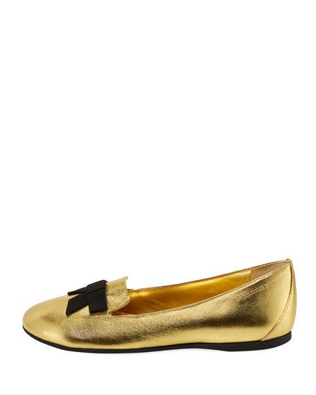 Ally Metallic Leather Loafer w/ Bow, Gold, Toddler/Youth Sizes 10T-4Y