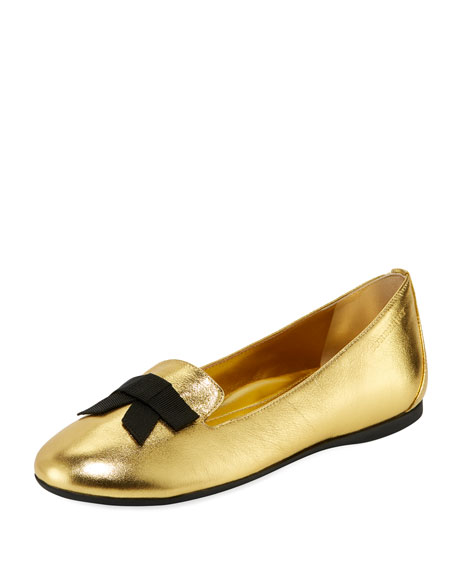 Burberry Ally Metallic Leather Loafer w/ Bow, Gold,