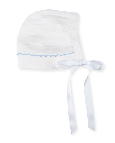 Joseph Linen Embroidered Bonnet, Size 3-24 Months
