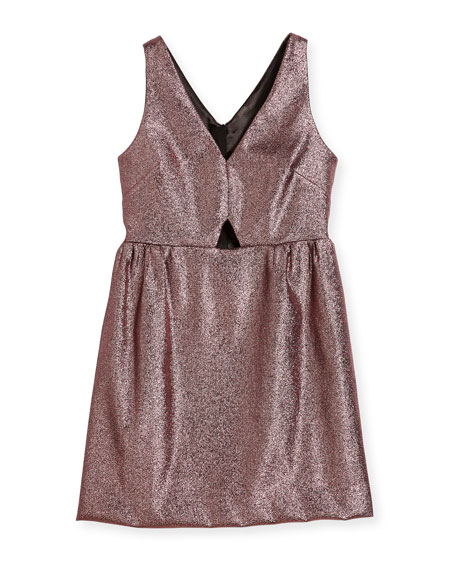 Milly Minis Sam V-Neck Cutout Stretch-Lurex® Dress, Size