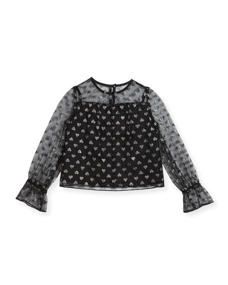 Leila Metallic Hearts Tulle Blouse, Size 8-16