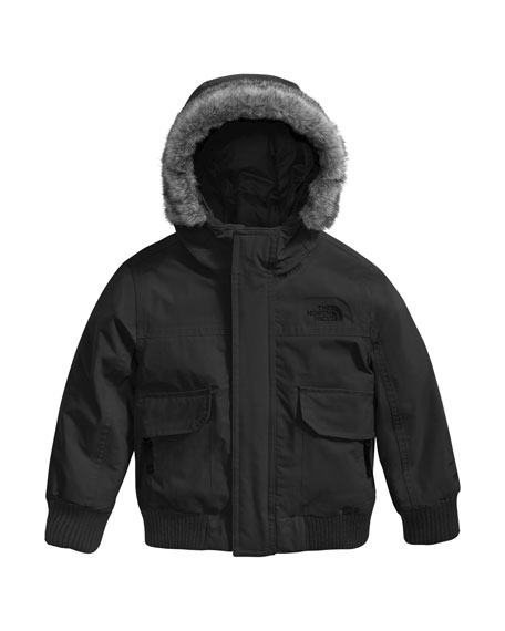 The North Face Gotham Down Hooded Jacket w/ Faux-Fur Trim, Black, Size 2-4T