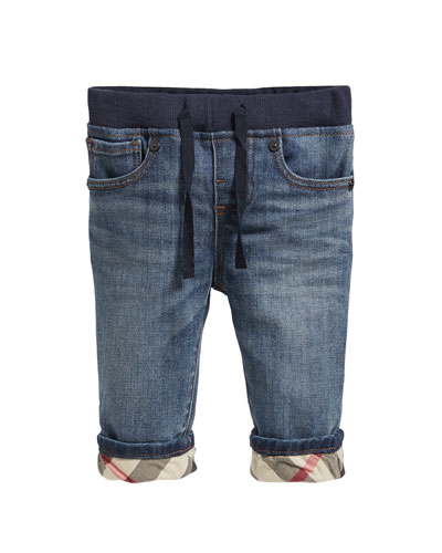 Pull-On Drawstring Jeans, Size 6M-3Y