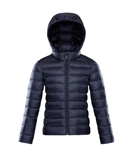 Moncler Iraida Hooded Lightweight Down Puffer Jacket, Navy, Size 8-14