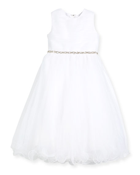 Joan Calabrese Shirred-Top Special Occasion Dress w/ Tulle