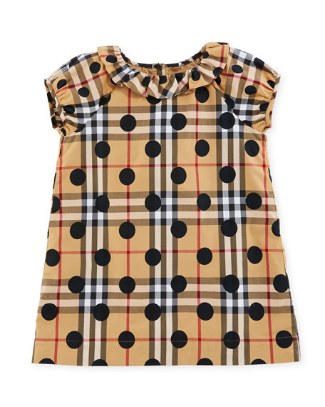Burberry Annie Check & Polka-Dot Dress, Navy, Size