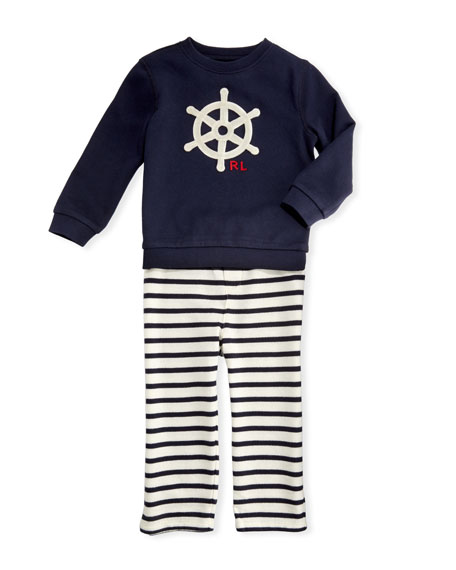 Ralph Lauren Childrenswear Atlantic Terry Sweater & Striped