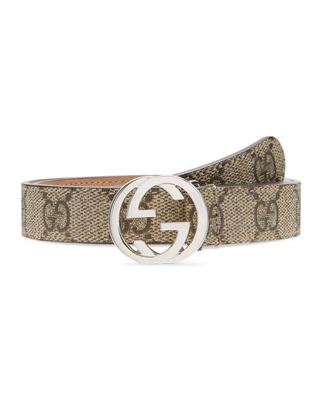 Gucci Kids' GG Supreme Belt w/ Interlocking G Buckle