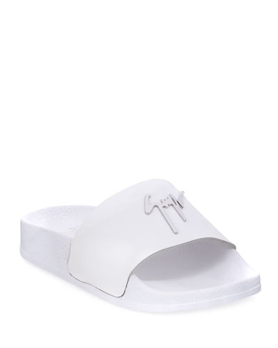 Birel Leather Slide Sandal  White  Toddler/Youth Sizes 9T-2Y
