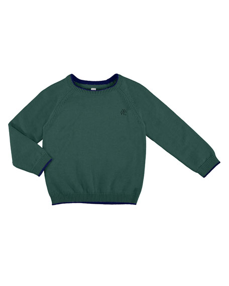 Long-Sleeve Crewneck Sweater, Size 3-7