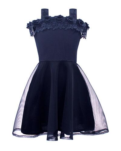 Mesh Overlay Dress w/ Off-Shoulder Lace Trim, Size 8-16