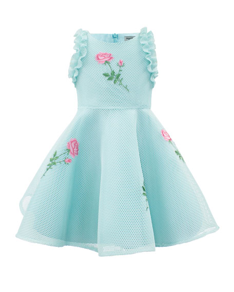 Sleeveless Mesh-Overlay Dress w/ Flower Appliques, Size 4-10