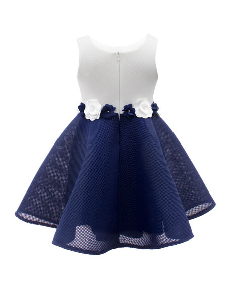 Two-Tone Mesh Dress w/ Flower Waist, Size 4-10