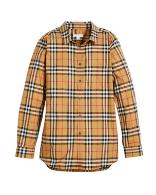 b50991d45 Burberry Fred Long-Sleeve Check Shirt, Size 4-14
