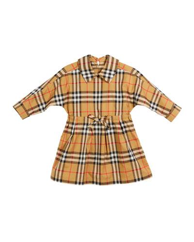 Mini Crissida Long-Sleeve Check Dress  Size 6 Months-3