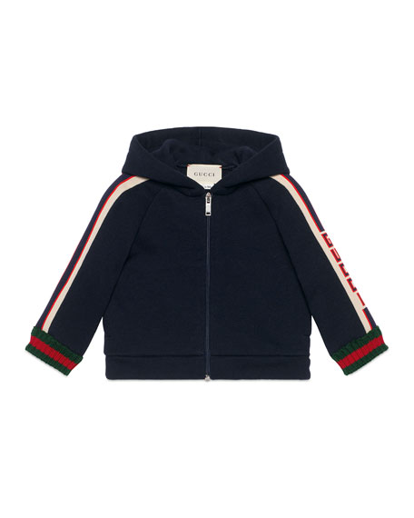 Image 1 of 2: Gucci Hooded Logo Jacquard-Trim Jacket w/ Web Knit Cuffs, Size 6-36 Months