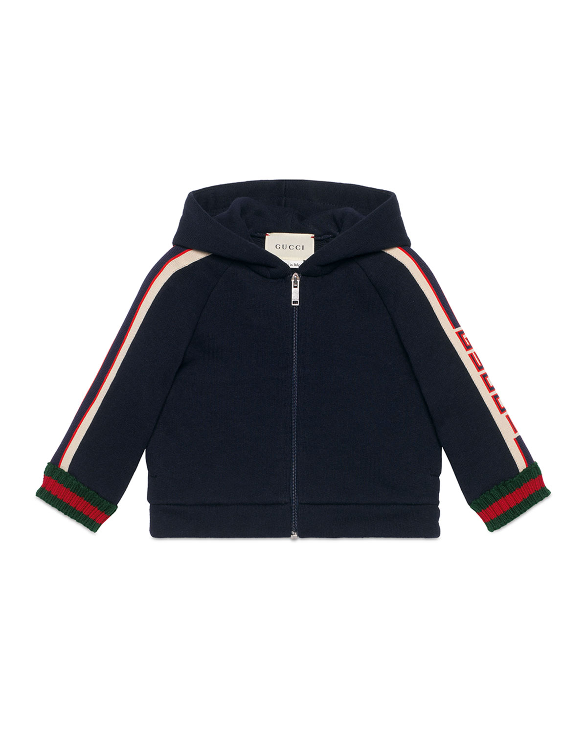 Gucci Hooded Logo Jacquard-Trim Jacket w/ Web Knit Cuffs, Size 6-36 Months