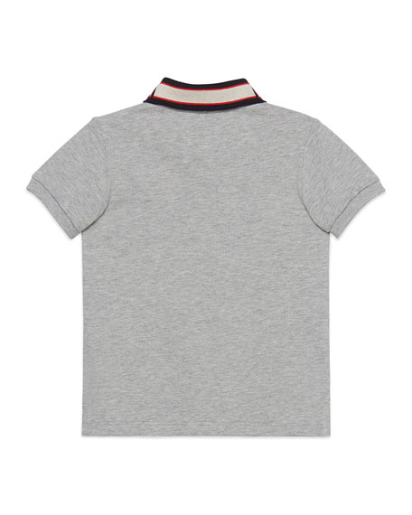 Gucci Short-Sleeve Polo w/ Knit Logo Collar, Size 4-12