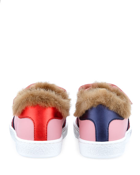 Gucci New Ace Web-Trim Leather Sneakers w/ Faux-Fur Lining, Toddler