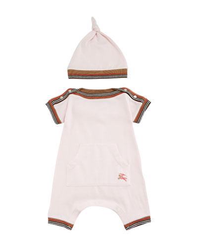 Abia Striped-Trim Shortall w/ Hat, Size 1-18 Months