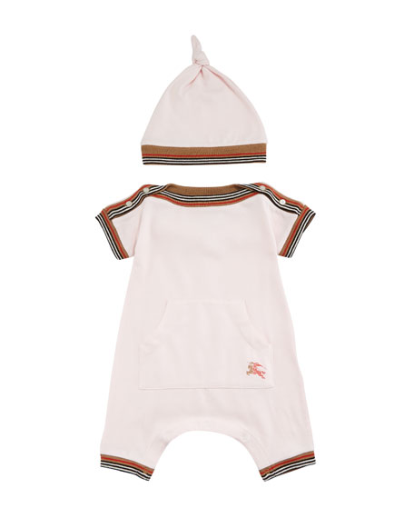 Burberry Abia Striped-Trim Shortall w/ Hat, Size 1-18
