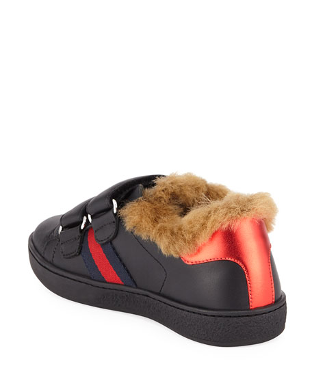 Gucci New Ace Web-Trim Leather Sneakers w/ Faux-Fur Lining, Kids