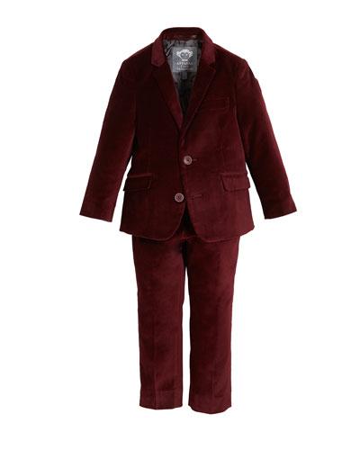 Boys' Two-Piece Mod Velvet Suit, 2-14