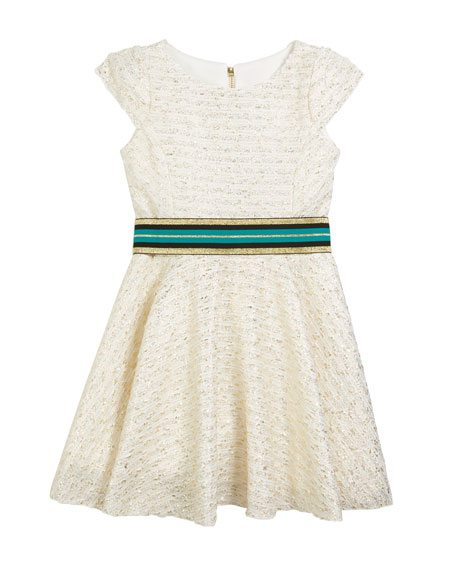 Zoe Metallic Boucle Knit Dress w/ Belt, Size 7-16