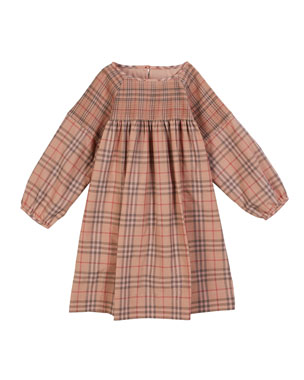 f11498beed5 Burberry Loralie Long-Sleeve Dyed Check Dress